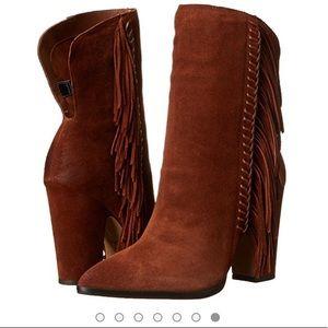 Fringe booties with block heel for comfort